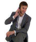 Hombre de negocios y teléfono Fotografía de archivo