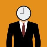 El hombre de negocios su cabeza es un reloj Imagenes de archivo