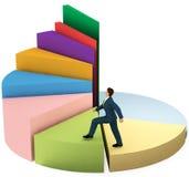 El hombre de negocios sube para arriba las escaleras del gráfico de sectores del crecimiento Fotografía de archivo libre de regalías