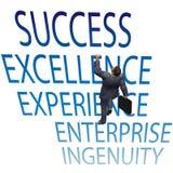 El hombre de negocios sube para arriba palabras del éxito 3D Fotografía de archivo