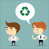 El hombre de negocios sugiere a su amigo para reutilizar el vector de papel Fotografía de archivo