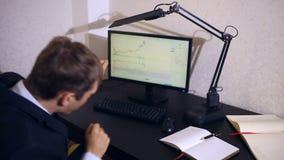 El hombre de negocios supervisa cambios en el horario en el intercambio de moneda, mirando el monitor de computadora almacen de metraje de vídeo