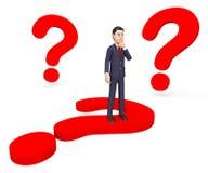 El hombre de negocios Thinking Shows Frequently hizo preguntas y alrededor Imagen de archivo libre de regalías