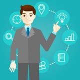 El hombre de negocios trabaja con los iconos y las nuevas tecnologías ilustración del vector