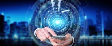 El hombre de negocios usando el interfaz 3D de la conexión de red digital rinde ilustración del vector