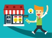 El hombre de negocios va a comprar ideas ilustración del vector