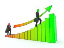 El hombre de negocios va encima de las escaleras del crecimiento de beneficio. Fotos de archivo