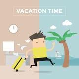 El hombre de negocios va a viajar el tiempo de vacaciones Foto de archivo libre de regalías