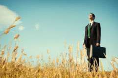 El hombre de negocios Vision Thinking Planning presiona concepto Fotografía de archivo