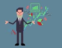 El hombre de negocios y el mercado de acción trazan el ejemplo del vector Fotografía de archivo libre de regalías