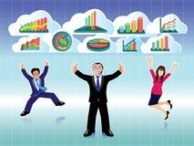 El hombre de negocios y la empresaria que saltan con los gráficos de negocio se nublan el sistema Fotos de archivo