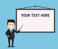 El hombre de negocios y la presentación suben con el lugar para su texto Imagen de archivo