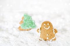 El hombre de pan de jengibre y el árbol de navidad en una Navidad festiva nievan Fotografía de archivo