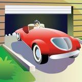 El hombre deja el garage en coche. Fotos de archivo libres de regalías