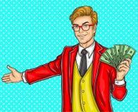 El hombre del arte pop hace un gesto de invitación stock de ilustración