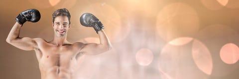 El hombre del combatiente del boxeador con chispear enciende la transición del bokeh Fotos de archivo libres de regalías