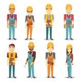El hombre del contratista del constructor y el trabajador de sexo femenino vector el juego de caracteres de la gente stock de ilustración