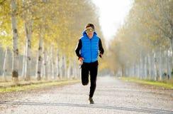 El hombre del deporte que corría al aire libre en de rastro del camino molió con los árboles bajo luz del sol hermosa del otoño Imagenes de archivo