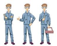 El hombre del fontanero del mecánico o del ajustador que sostiene una llave, caja de herramientas y mostrando manosea con los ded stock de ilustración