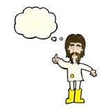 el hombre del hippie de la historieta que da los pulgares sube símbolo con la burbuja del pensamiento Imagen de archivo