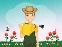 El hombre del jardinero crece rosas en el jardín libre illustration