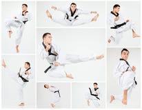 El hombre del karate con karate del entrenamiento de la correa negra Foto de archivo