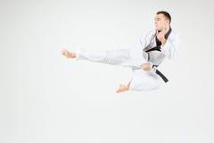 El hombre del karate con la correa negra Imagen de archivo