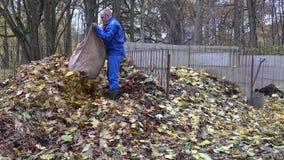 El hombre del trabajador lleva el saco del bolso por completo de hojas secas y lo descarga en pila del estiércol vegetal 4K almacen de video