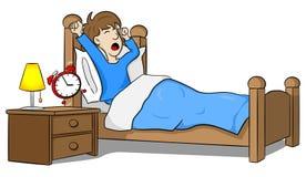 El hombre despierta por la mañana por el despertador ilustración del vector