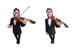 El hombre divertido con el instrumento de música en blanco imágenes de archivo libres de regalías