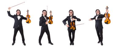 El hombre divertido con el instrumento de música en blanco foto de archivo libre de regalías