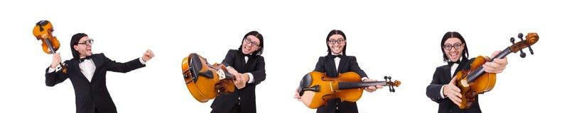 El hombre divertido con el instrumento de música en blanco fotos de archivo libres de regalías