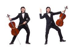 El hombre divertido con el instrumento de música en blanco fotografía de archivo