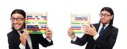 El hombre divertido con la calculadora y el ábaco imagen de archivo libre de regalías