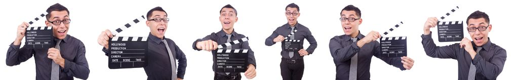 El hombre divertido con la chapaleta de la película Fotografía de archivo libre de regalías