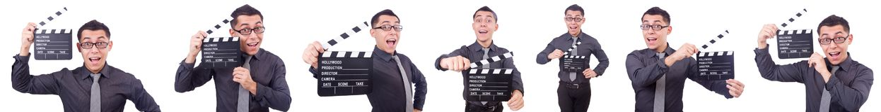 El hombre divertido con la chapaleta de la película Foto de archivo