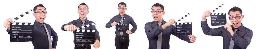 El hombre divertido con la chapaleta de la película Imagen de archivo libre de regalías