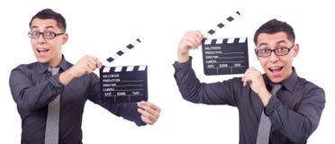 El hombre divertido con la chapaleta de la película Foto de archivo libre de regalías