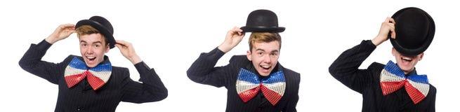 El hombre divertido con la corbata de lazo gigante fotografía de archivo