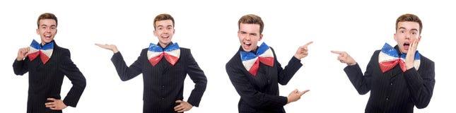 El hombre divertido con la corbata de lazo gigante imágenes de archivo libres de regalías