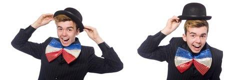El hombre divertido con la corbata de lazo gigante foto de archivo libre de regalías