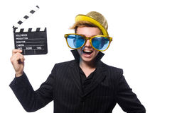 El hombre divertido con la tablilla de la película fotografía de archivo libre de regalías