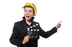 El hombre divertido con la tablilla de la película imagen de archivo