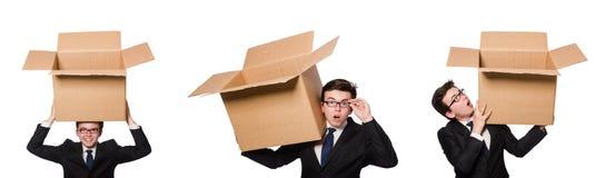 El hombre divertido con las cajas en blanco foto de archivo libre de regalías