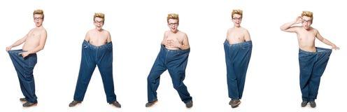 El hombre divertido con los pantalones aislados en blanco Imagen de archivo libre de regalías