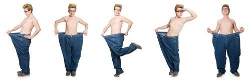 El hombre divertido con los pantalones aislados en blanco Fotografía de archivo libre de regalías