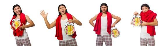 El hombre divertido con el reloj aislado en blanco fotografía de archivo libre de regalías