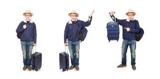 El hombre divertido con el sombrero del safari del equipaje que lleva fotos de archivo libres de regalías