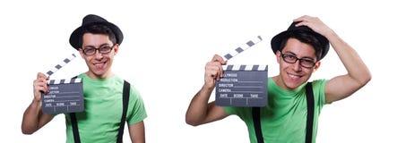 El hombre divertido con el tablero de la película imagenes de archivo