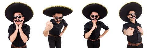 El hombre divertido que lleva el sombrero mexicano del sombrero aislado en blanco Imagenes de archivo